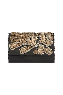Black & Gold Embroidered Sling Clutch by The Purple Sack