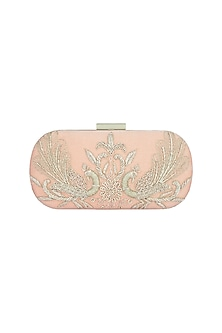 Peach & Gold Embroidered Box Clutch by The Purple Sack