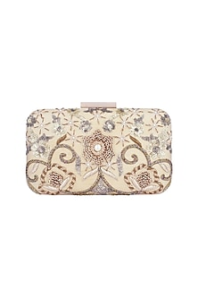 Beige & Gold Embroidered Box Clutch by The Purple Sack