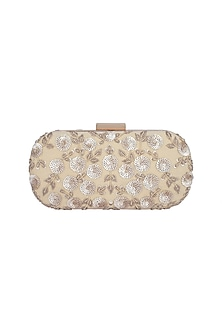 Nude & Gold Embroidered Box Clutch by The Purple Sack