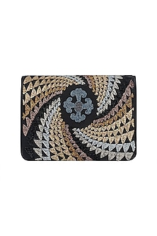 Black Gradation Embroidered Sling Clutch by The Purple Sack