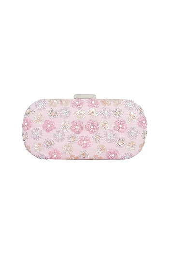 Pink Embroidered Box Clutch by The Purple Sack