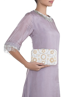 White & Gold Embroidered Box Clutch