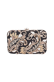 Black & Gold Embroidered Sling Box Clutch by The Purple Sack