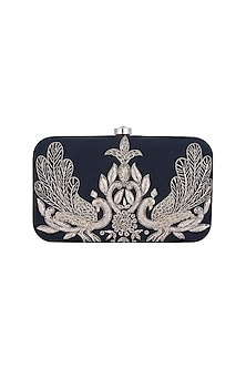 Black & Gold Peacock Embroidered Sling Box Clutch by The Purple Sack
