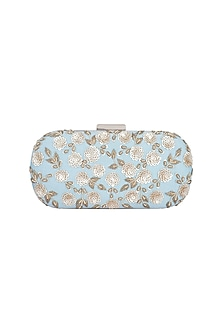 Blue & Gold Embroidered Box Clutch by The Purple Sack