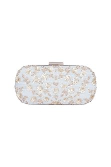Ice Blue & Gold Embroidered Box Clutch by The Purple Sack
