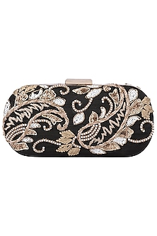 Black and Gold Embroidered Clutch by The Purple Sack
