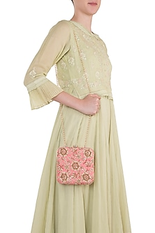 Pink Embroidered Square Clutch
