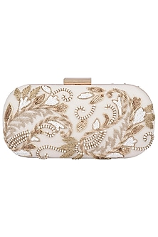 White Embroidered Clutch by The Purple Sack