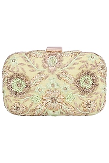 Green Embroidered Clutch by The Purple Sack
