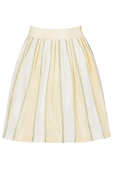 Pastel Yellow Box Pleated Skirt