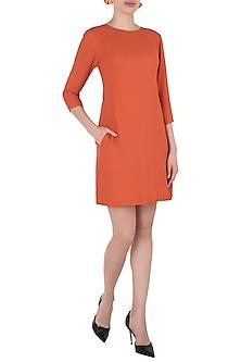 Burnt Orange Knee Length Shift Dress by Tara and I