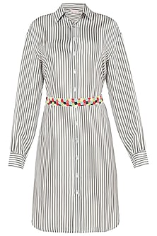 Green Striped Shirt Dress with Multi Color Beaded Belt