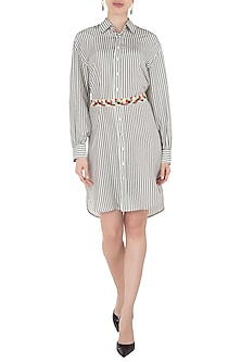 Green Striped Shirt Dress with Multi Color Beaded Belt by Tara and I