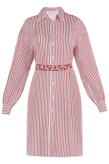 Red Striped Shirt Dress with Multi Color Beaded Belt by Tara and I