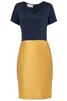 Navy Blue and Mustard Block Pleated Dress