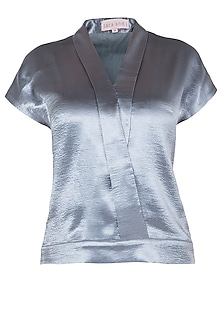 Electric Grey Lapel Collar Top