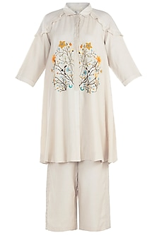 Offwhite Embroidered Kurta with Pants
