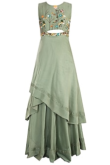 Olive Asymmetrical Embroidered Gown with Pants