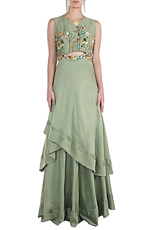 Olive Asymmetrical Embroidered Gown with Pants by The Right Cut