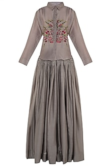 Taupe Embroidered Shirt with Pleated Skirt