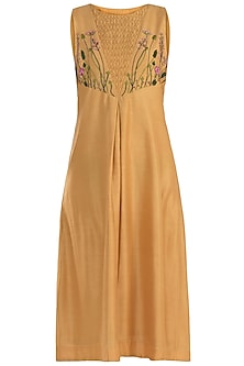 Mustard Pleated Embroidered Tunic