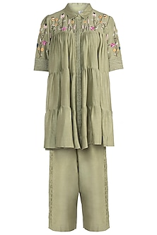 Olive Embroidered Shirt with Trousers