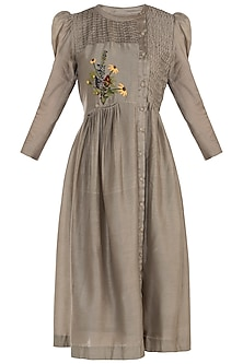 Taupe Button Down Embroidered Tunic by The Right Cut