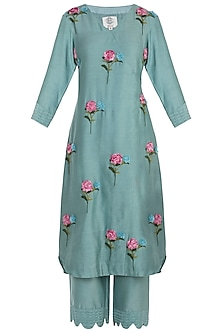 Mint Blue Pintuck Embroidered Kurta with Trousers
