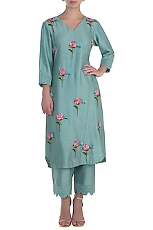 Mint Blue Pintuck Embroidered Kurta with Trousers by The Right Cut