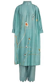 Mint Embroidered Kurta with Trousers