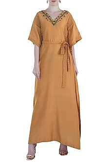 Mustard Pintuck Embroidered Kaftan by The Right Cut