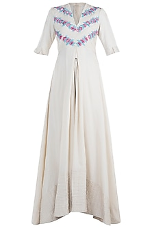 Ivory Pleated Embroidered Cape by The Right Cut