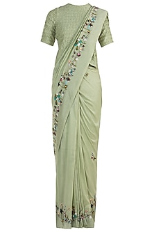 Olive Embroidered Saree with Unstitched Blouse