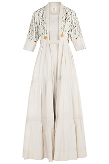 Ivory Pintuck Embroidered Cape with Crop Top and Pants