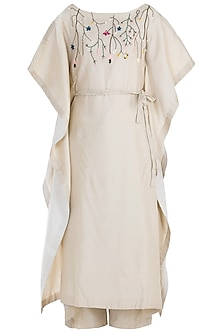 Ivory Pintuck Embroidered Kaftan with Trousers and Belt