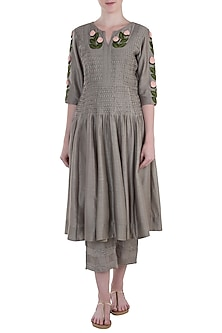 Taupe Embroidered Tunic with Pants by The Right Cut