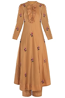 Mustard Pintuck Embroidered Kurta with Trousers
