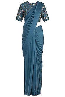 Navy Blue Pintuck Embroidered Saree with Blouse by The Right Cut