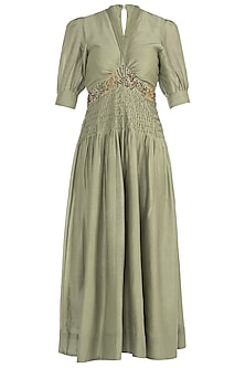 Pista Green Pintuck Embroidered Jumpsuit by The Right Cut
