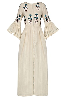 Ivory Floral Embroidered Sun Dress