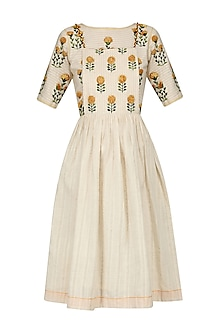 Ivory Floral Embroidered Motifs Dress