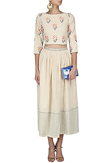 Ivory Floral Embroidered Crop Top and Skirt Set by The Right Cut