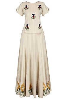 Ivory Floral Embroidered Pleated Maxi Skirt and Top Set