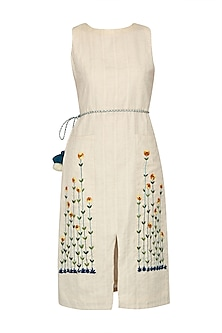 Ivory Floral Embroidered Sleeveless Dress