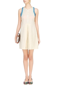 Off White Frenchknot Embroidered Midi Dress by The Right Cut