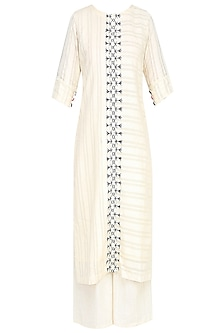 Off White and Indigo Feather Embroidery Kurta with off white pants