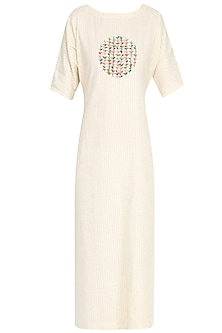 Off White Embroidered Tie Up Midi Dress by The Right Cut