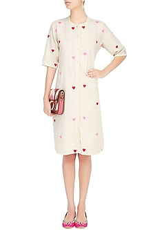 Off White Hearts Embroidered Shirt Dress by The Right Cut